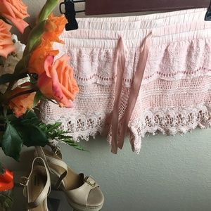 Soft Pink Crochet Lined Shorts Size Extra Small